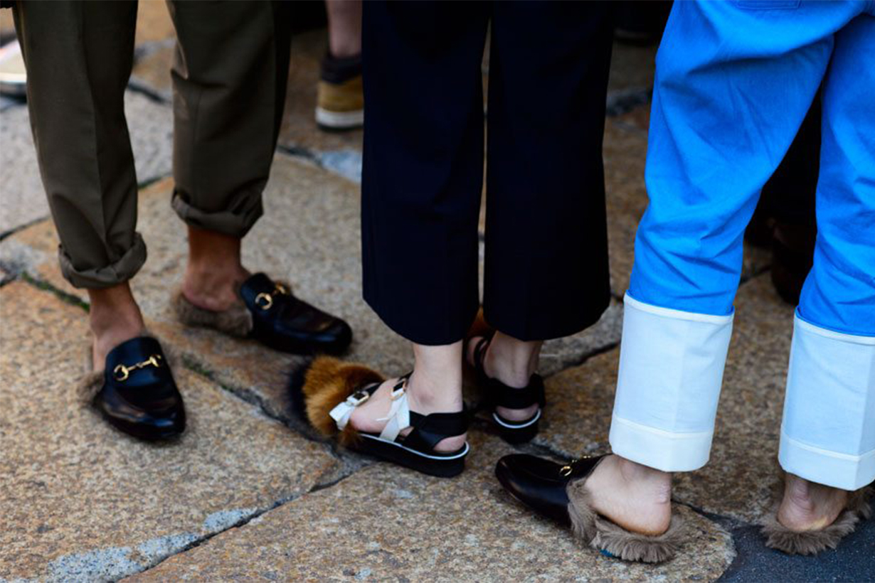 Gucci Fur Loafers Street Style