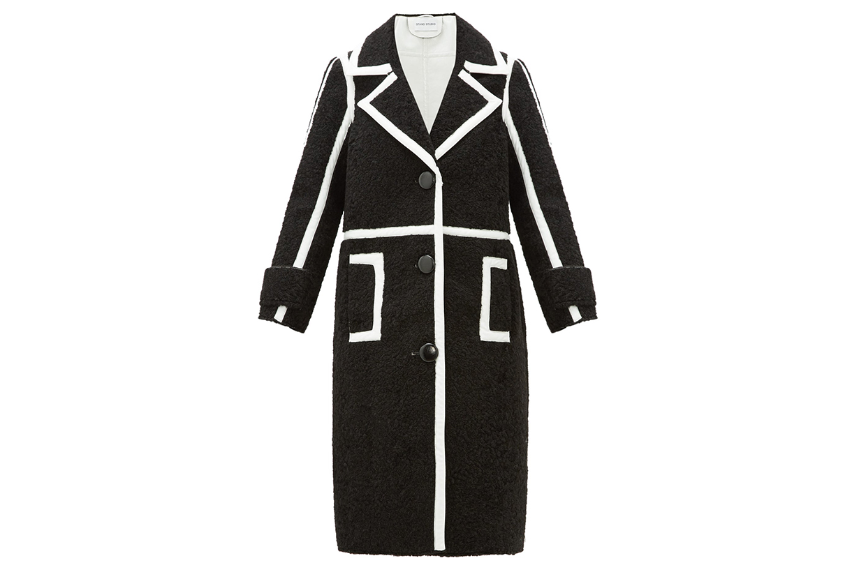 Kenzie Patent-edged Faux-shearling Coat
