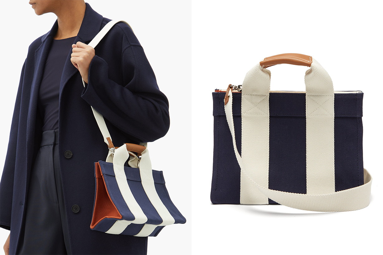 Lady Small Leather-trimmed Canvas Tote Bag