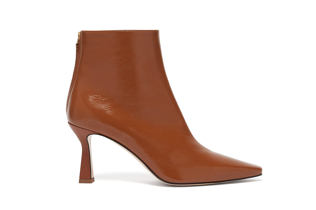 Lina Point-toe Leather Ankle Boots