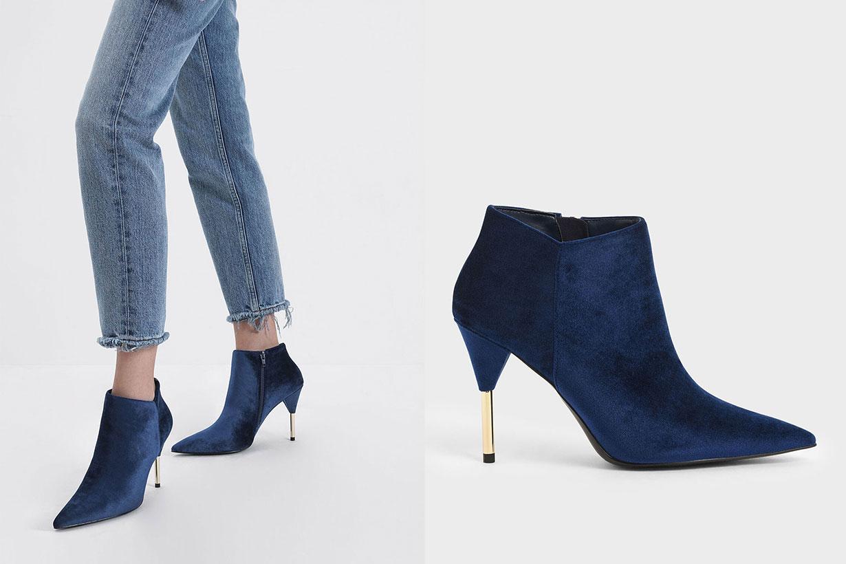 Metallic Stiletto Heel Ankle Boots