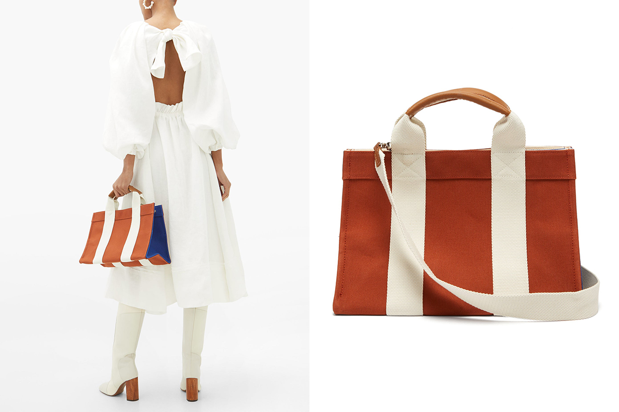 Mini Medium Leather-trimmed Canvas Tote Bag