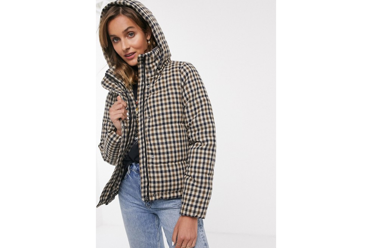 Only Check Padded Short Jacket