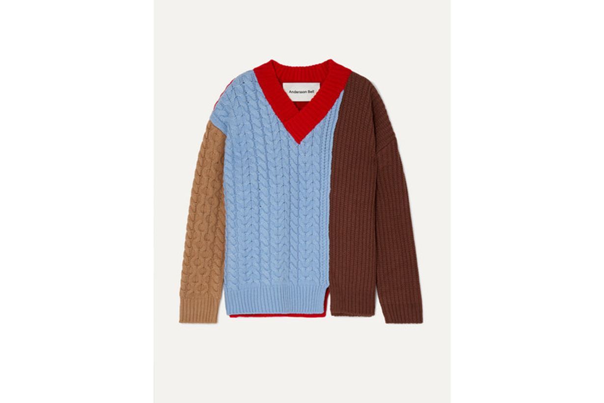 Oversized Color-block Wool-blend Sweater