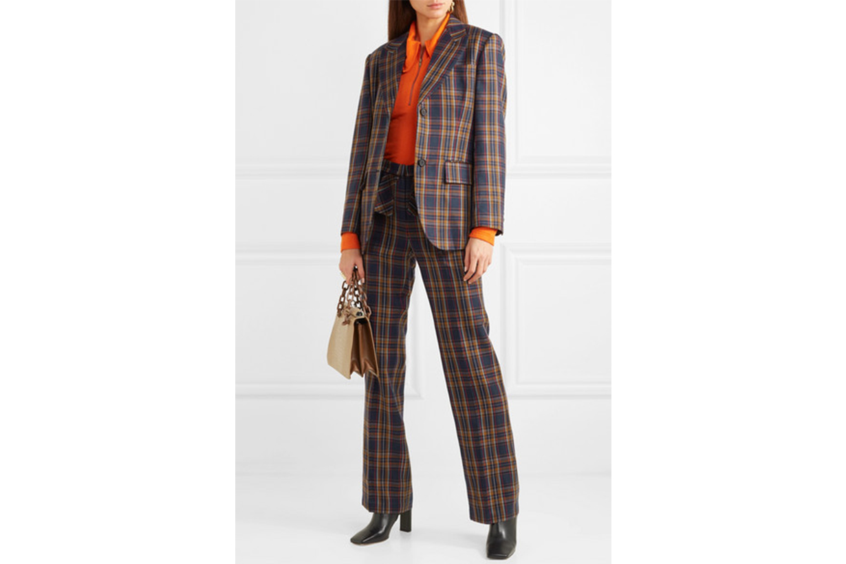 Paneled Faux Leather and Checked Twill Blazer