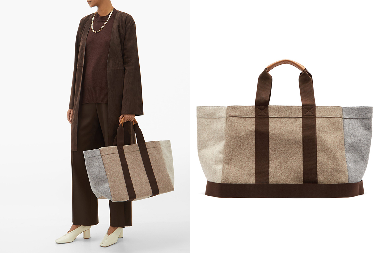 Parcours Large Leather-trimmed Felt Tote Bag