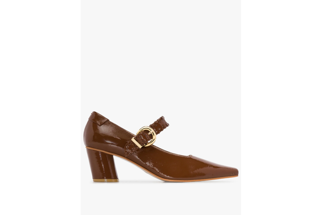 Reike Nen Brown 60 Patent Leather Mary Jane Pumps