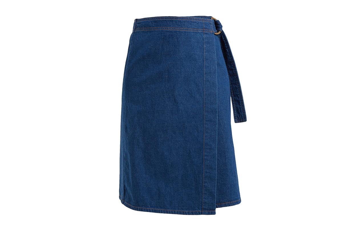 Ria Cotton-chambray Wrap Skirt