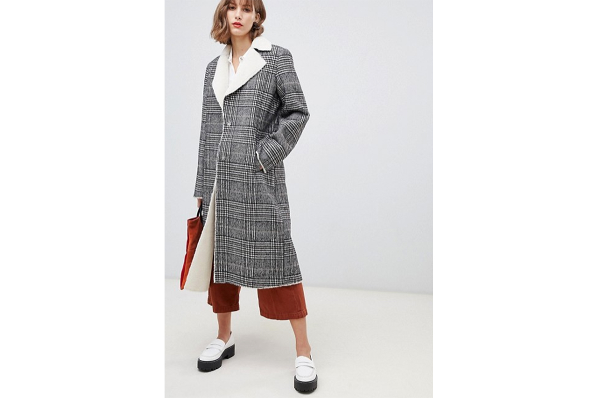 Stradivarius Contrast Shearling Long Line Coat in Check Print