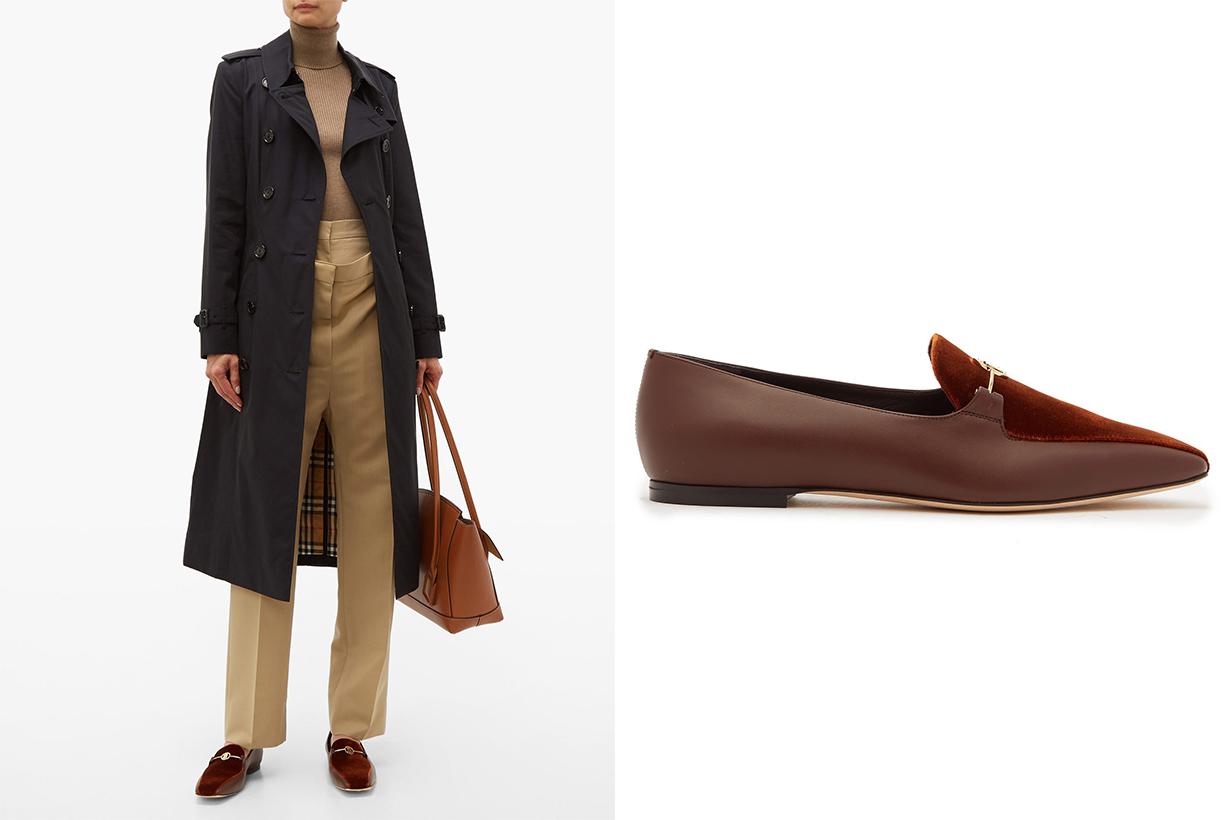 TB-monogram Leather and Velvet Horsebit Loafers