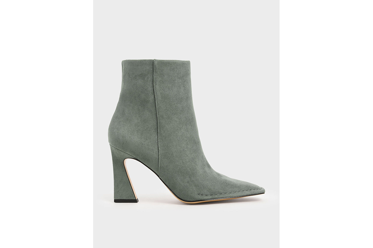 Textured Sculptural Heel Ankle Boots