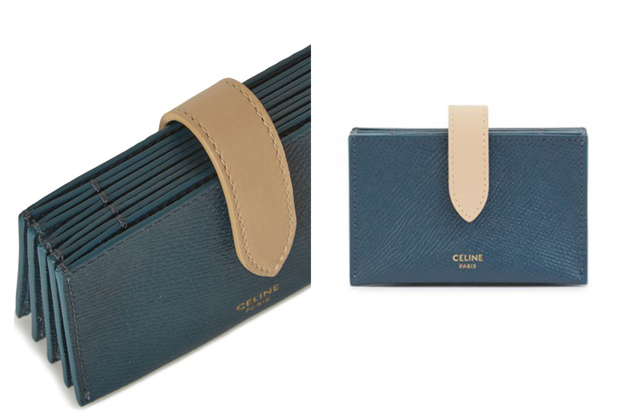 Two colour grained leather accordion card holder