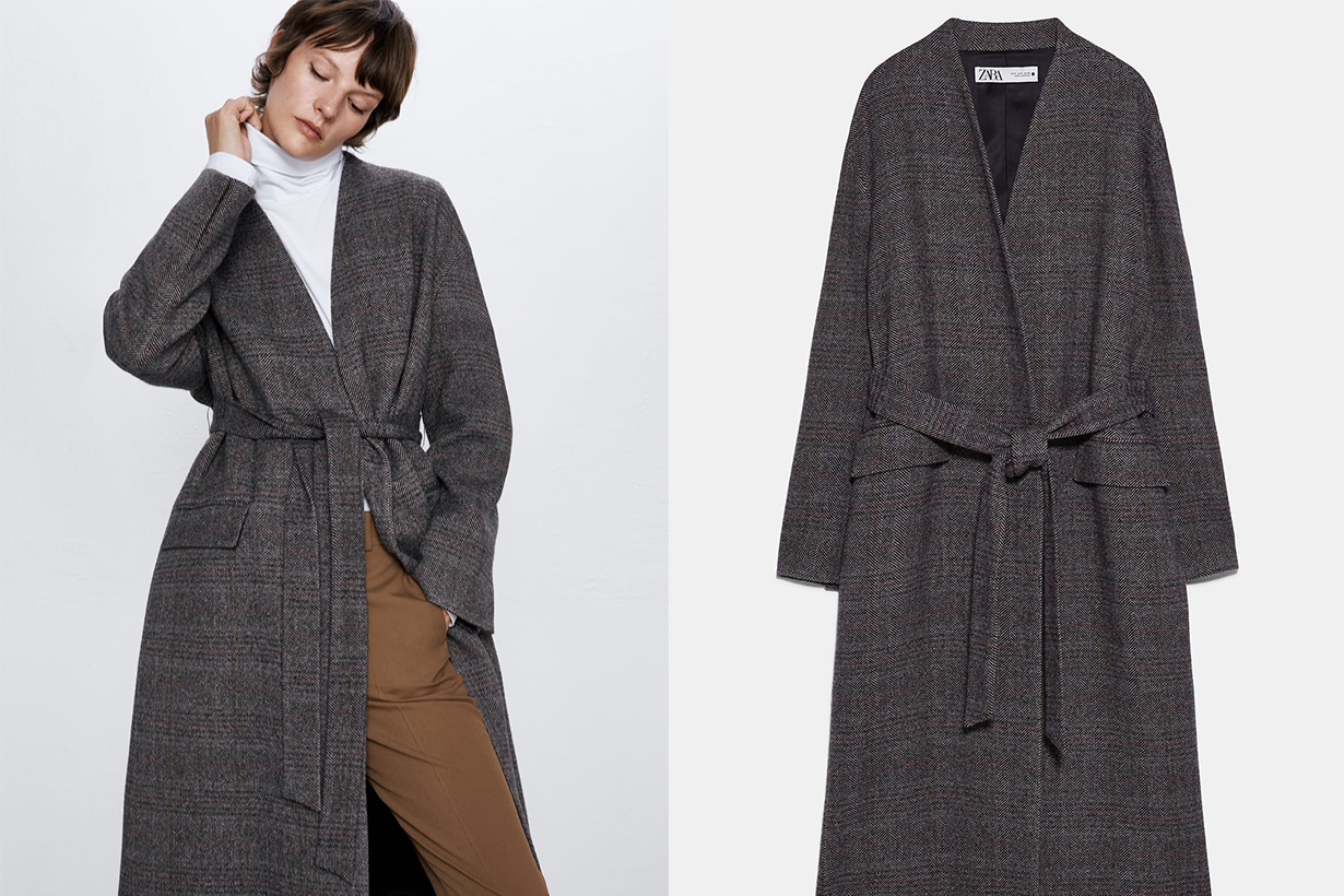 HERRINGBONE COAT WITH BELT