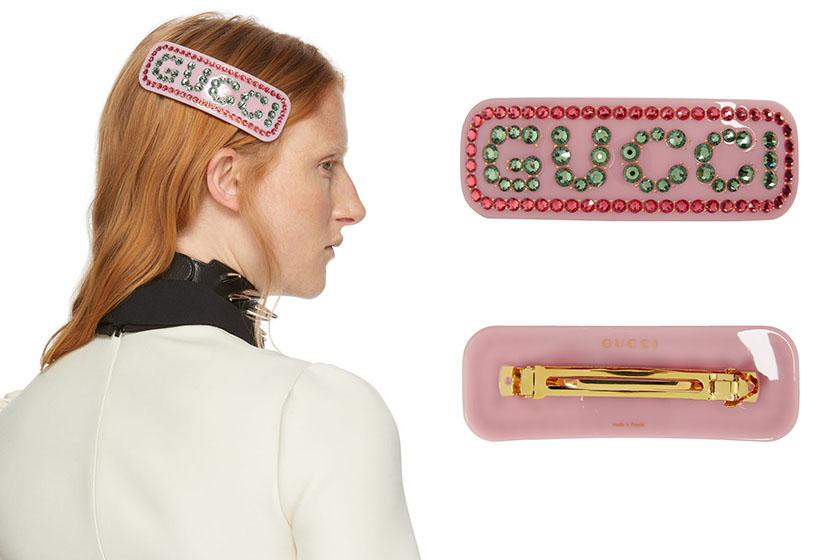 prada logo hair clip style