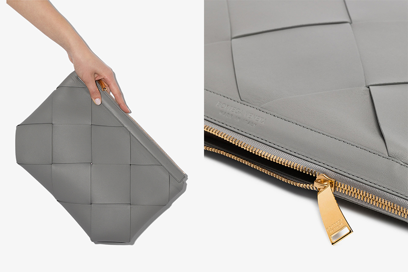 Bottega Veneta Grey Maxi Intrecciato Leather Clutch Bag
