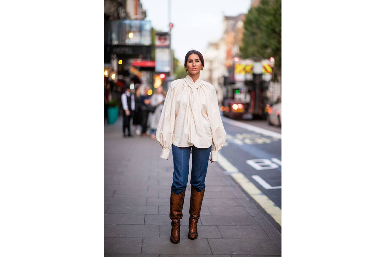 White Blouse, Jeans with Boots