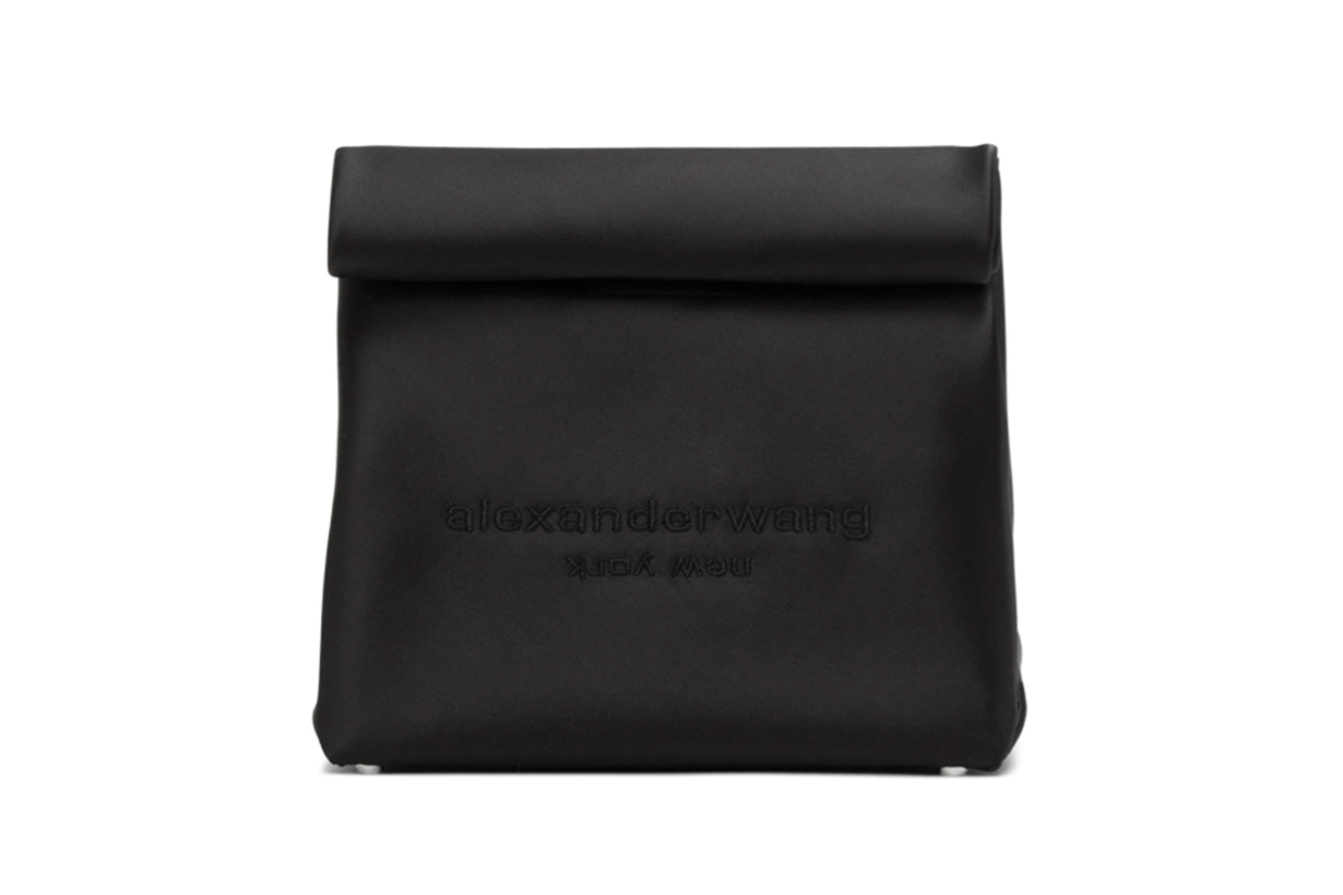 Alexander Wang Black Satin Lunch Bag Clutch