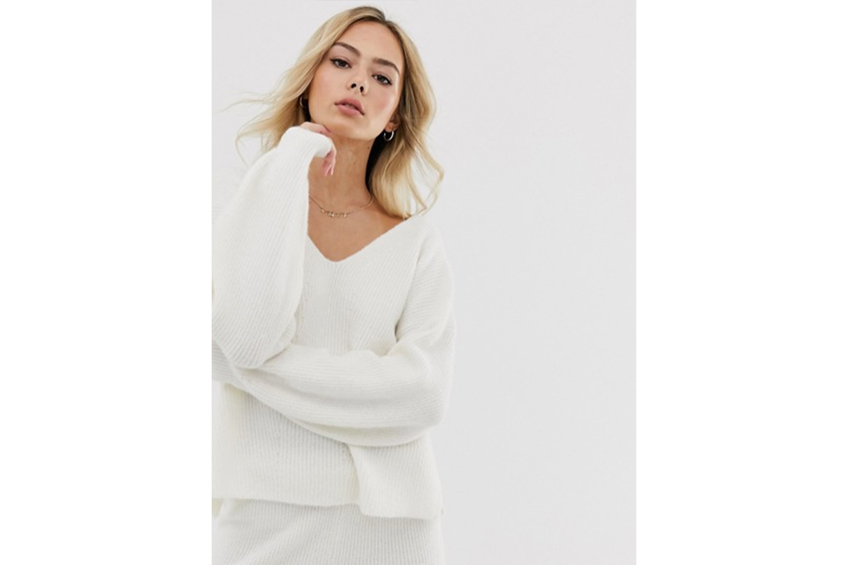 ASOS DESIGN Fluffy V Neck Ribbed Jumper with Balloon Sleeve in Recycled Blend