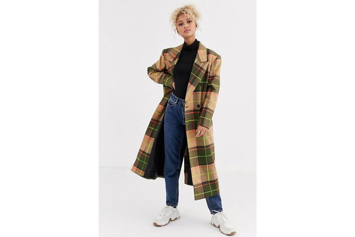 ASOS DESIGN neon check maxi coat