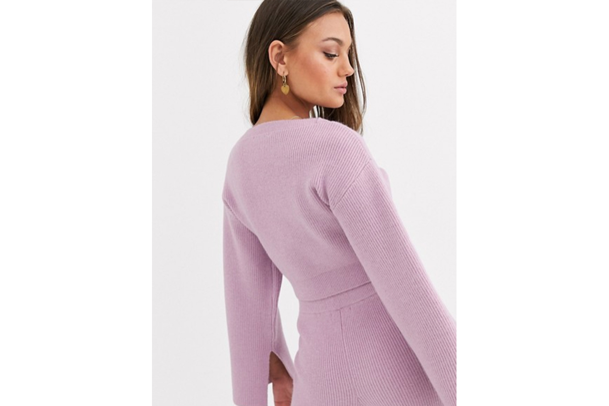 ASOS DESIGN Petite Co Ord Cropped Ribbed Jumper with Wide Sleeve