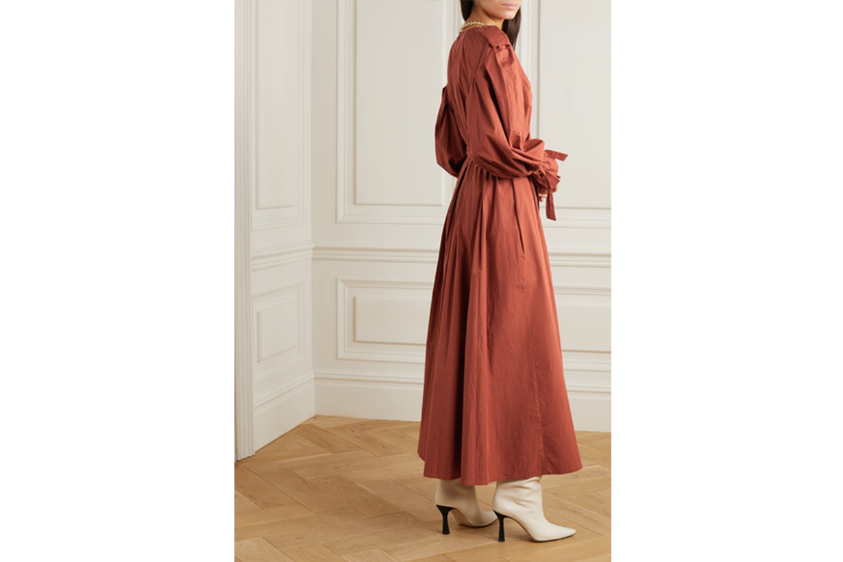 Belted Pleated Organic Cotton Maxi Dress