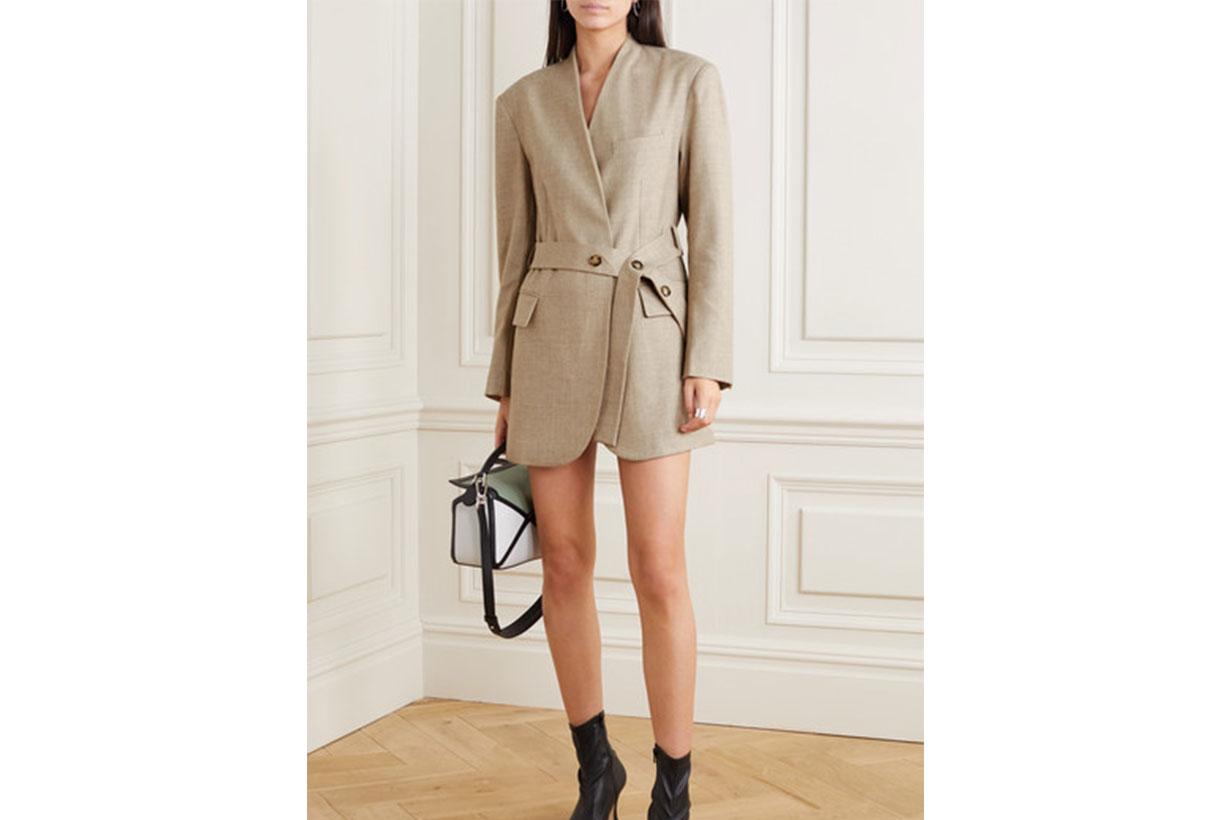 Belted Wool-blend Wrap Blazer