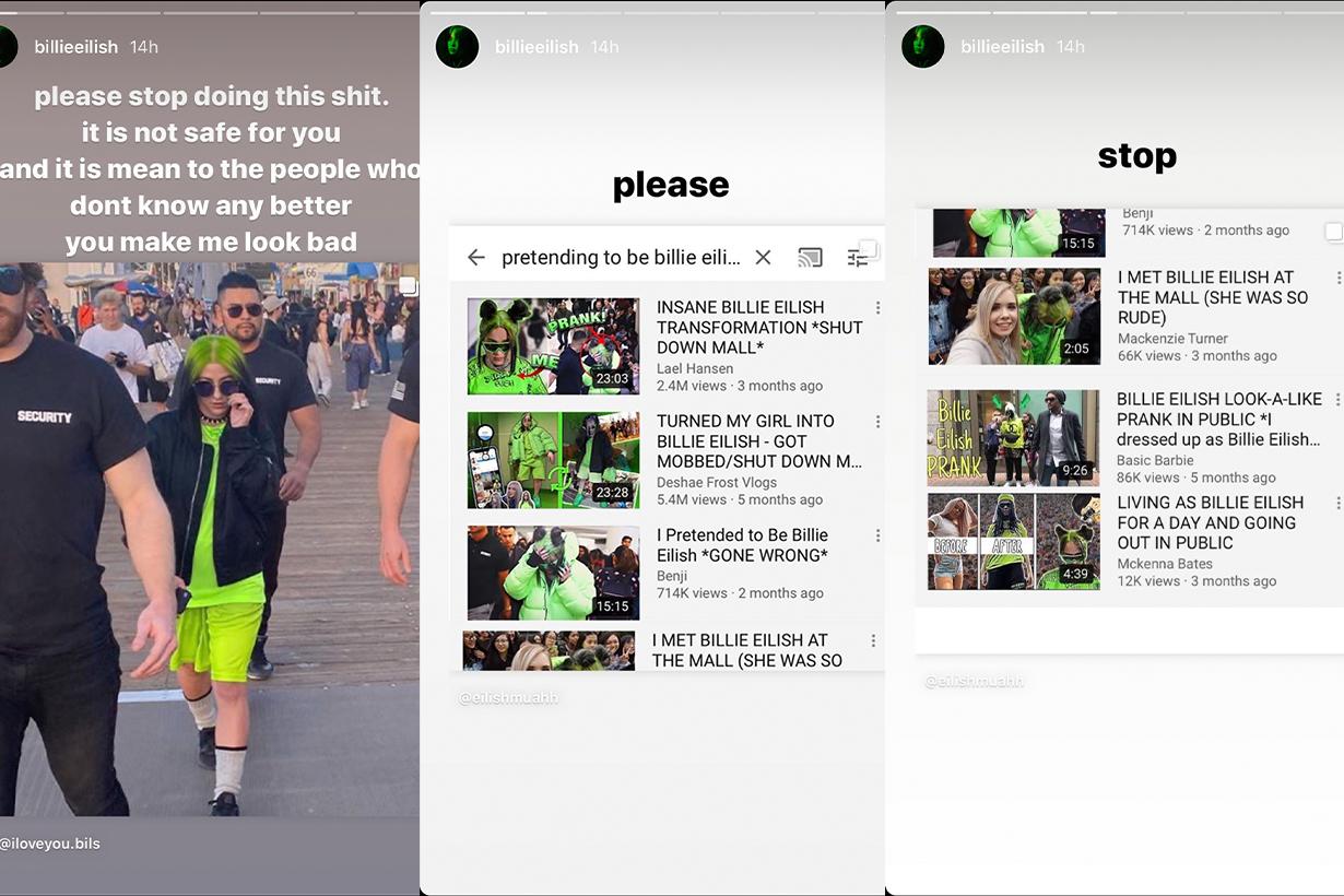 Billie Eilish prank video Instagram response