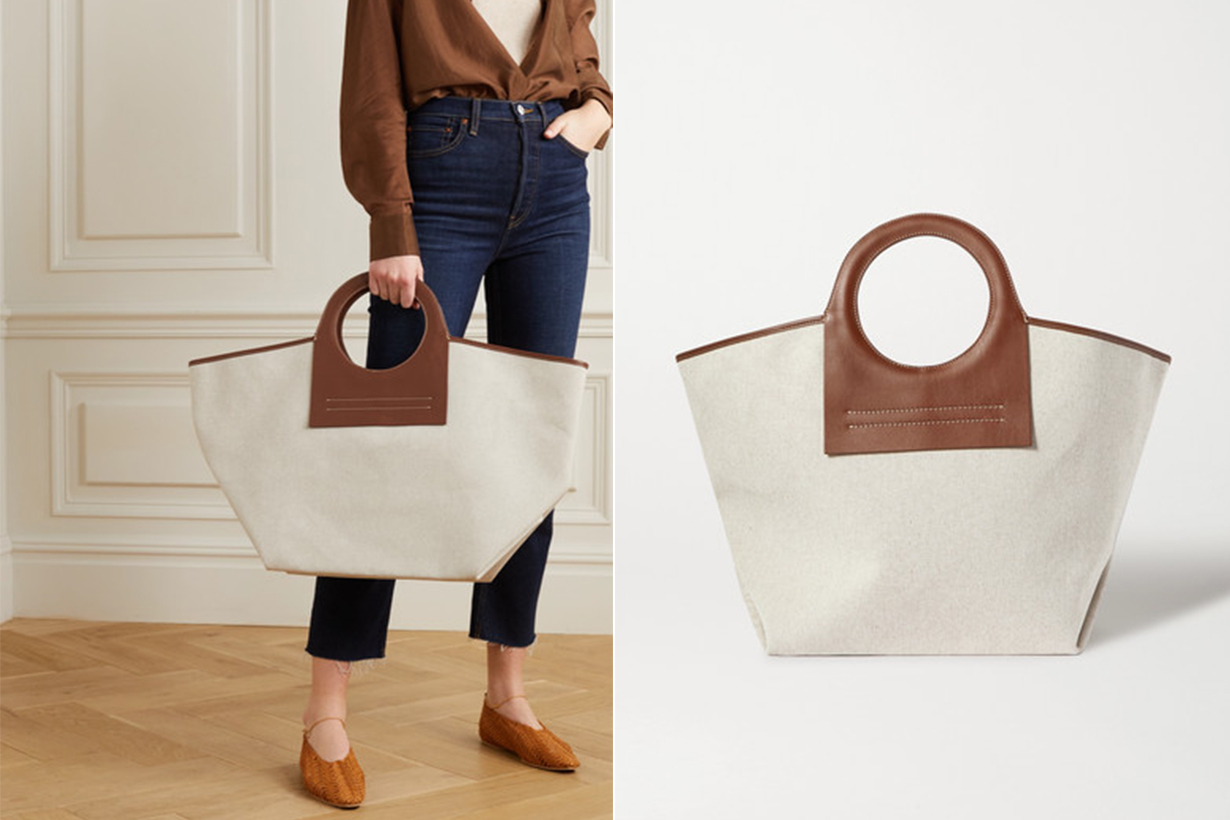 Cala Large Leather-trimmed Canvas Tote