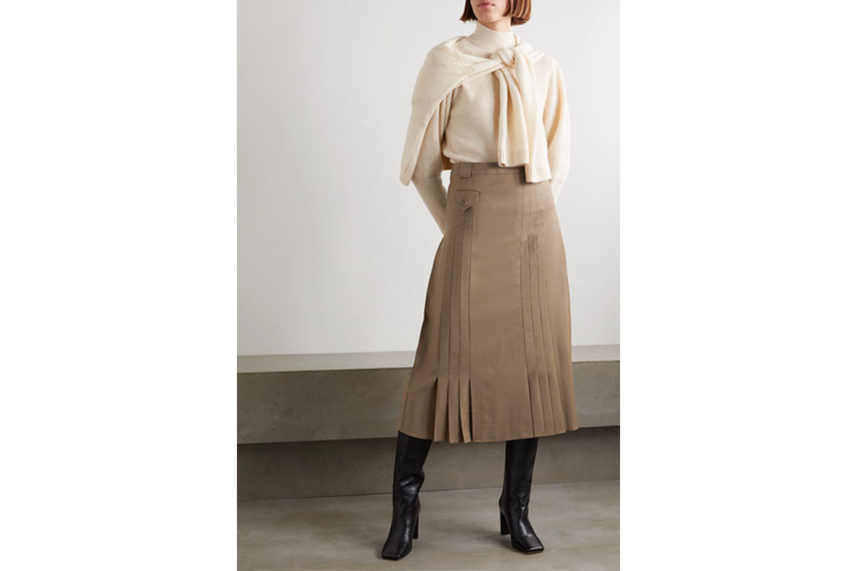 Christiania Pleated Wool Midi Skirt