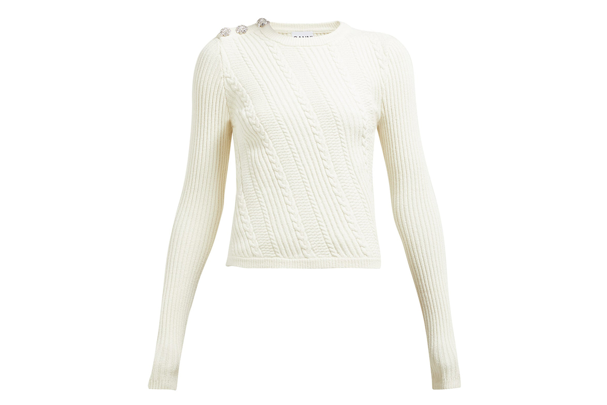 Crystal-button Cotton-blend Sweater