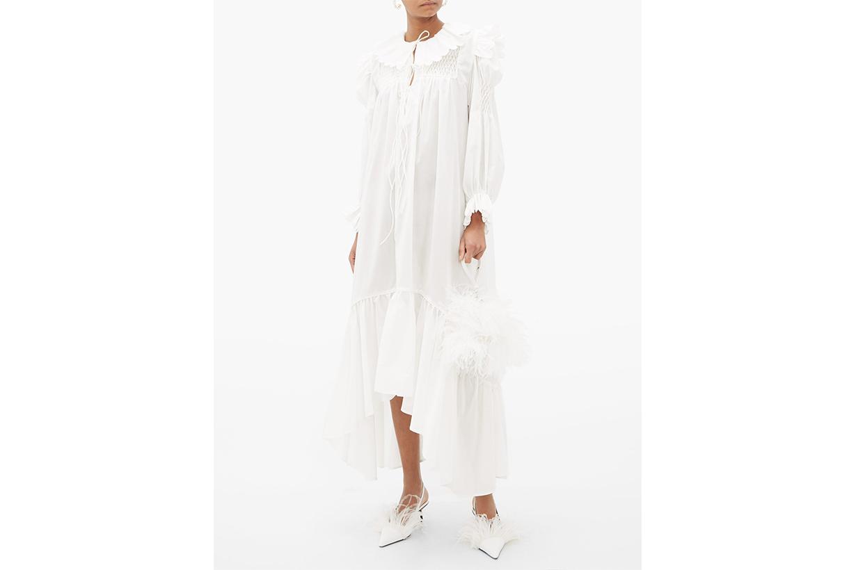 Defensia Scalloped Cotton-poplin Dress