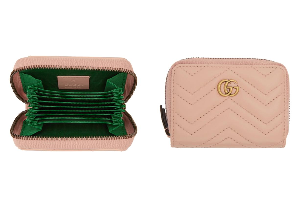 Gucci Pink GG Marmont Zip Around Wallet
