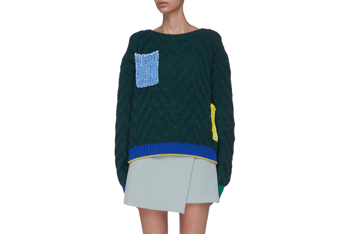 I-AM-CHEN Contrast Chenille Patch Pocket Chevron Knit Sweater