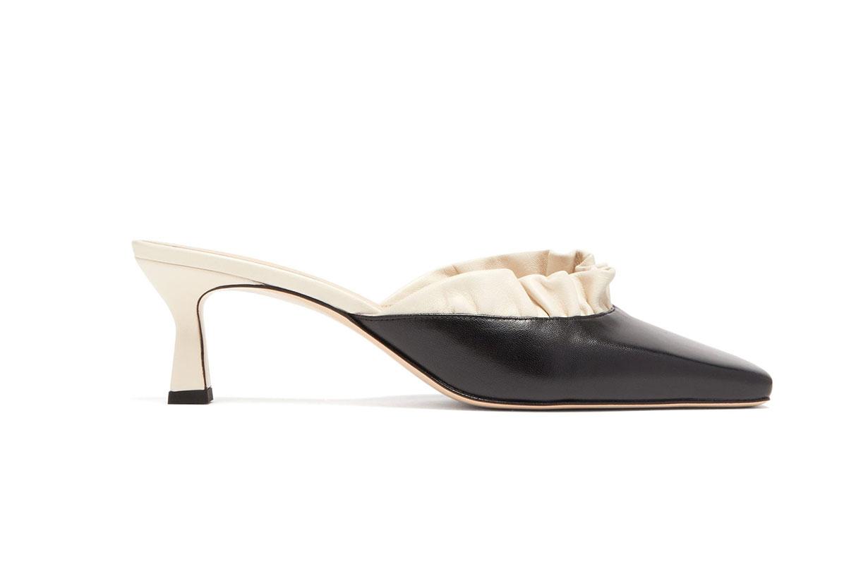 Isa Ruffle-trim Square-toe Leather Mules
