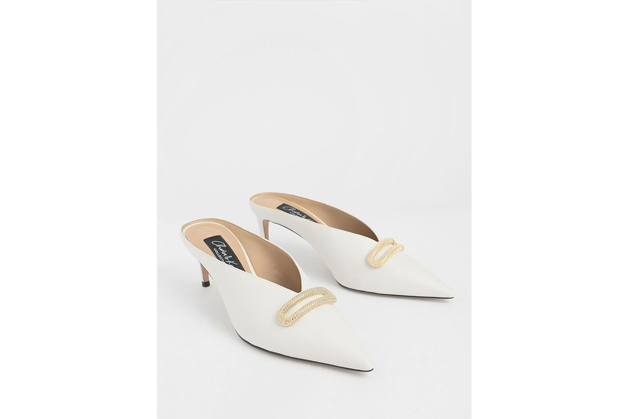 Charles & Keith Leather Metallic Accent Heeled Mules