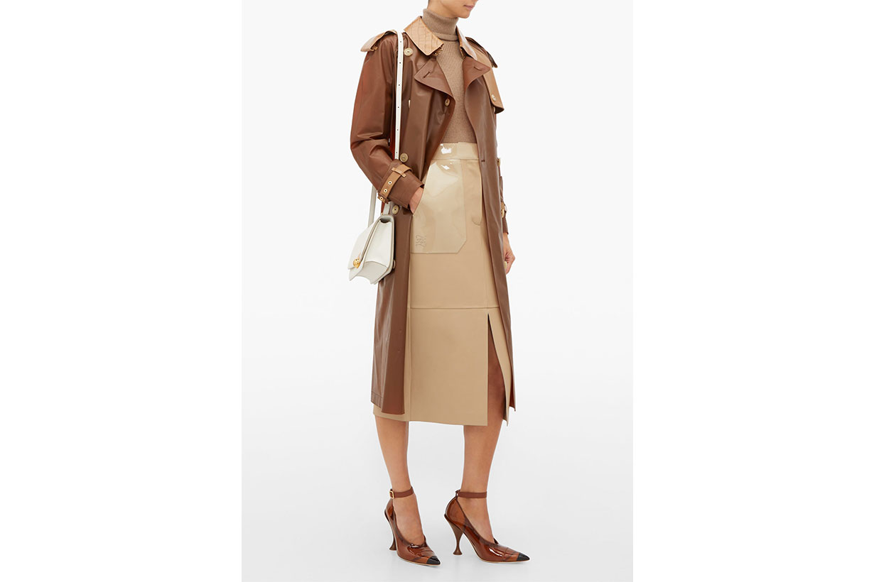 Leather-trimmed PU Trench