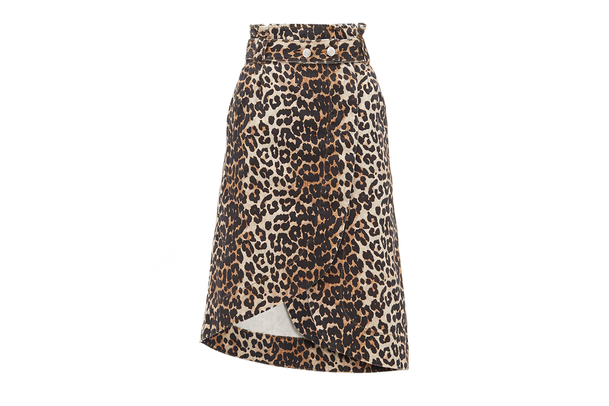 Leopard-print Cotton-denim Wrap Skirt