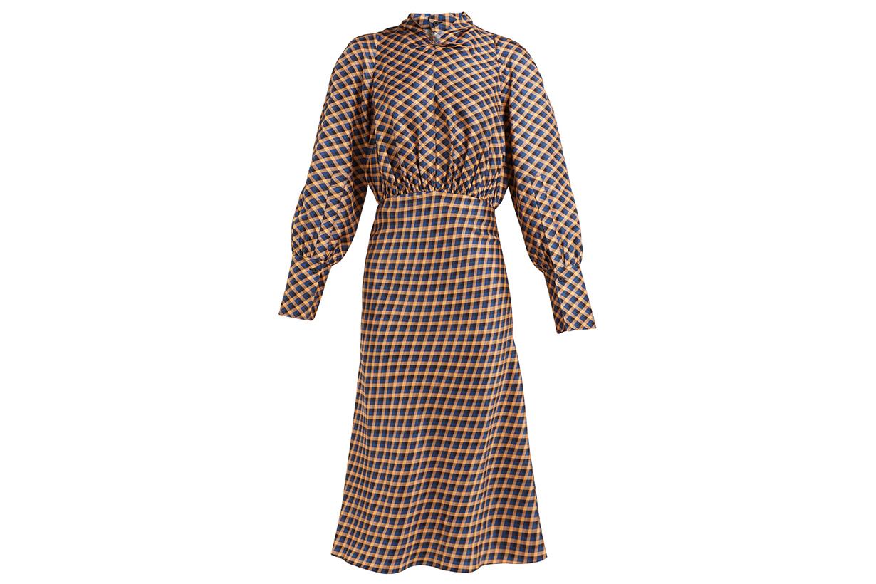 Lucian Checked Silk-satin Midi Dress