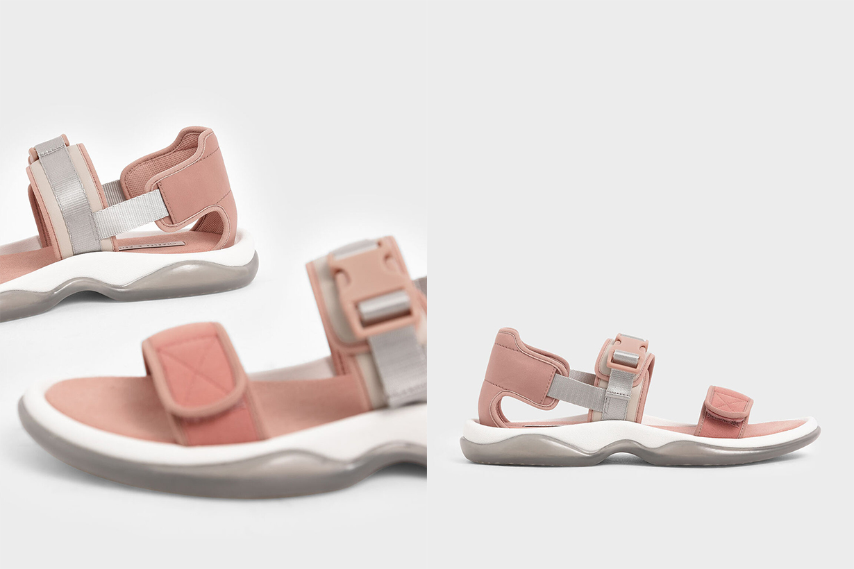 Lycra & Microsuede Chunky Sandals