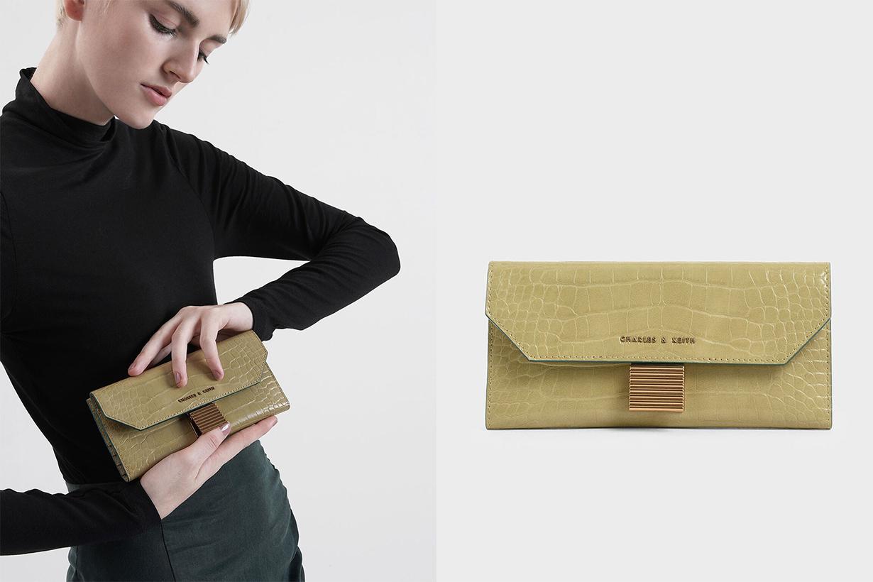 Mini Croc-Effect Metal Push Lock Wallet