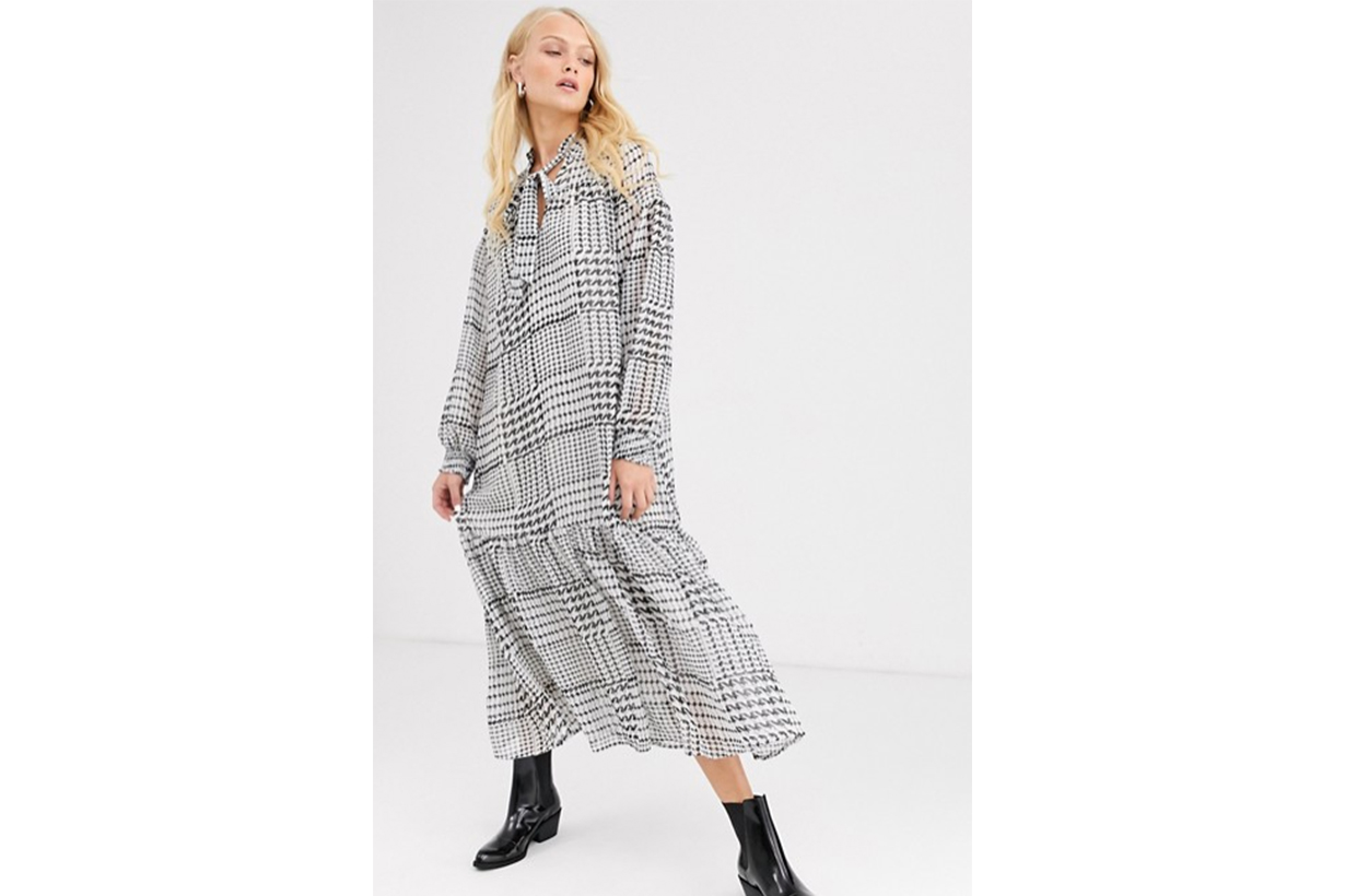 Only Check Smock Maxi Dress with Tie Neck Detail