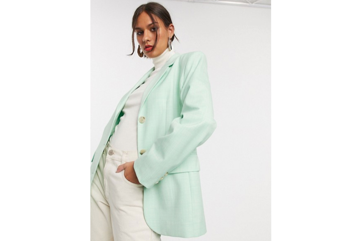 & Other Stories Oversized Textured Blazer in Pistachio Green