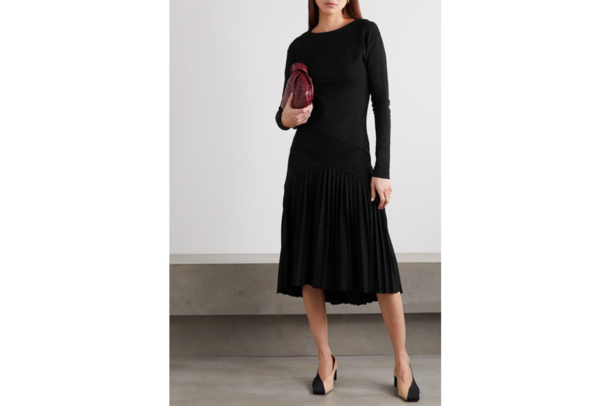Pleated organic cotton-blend jersey dress