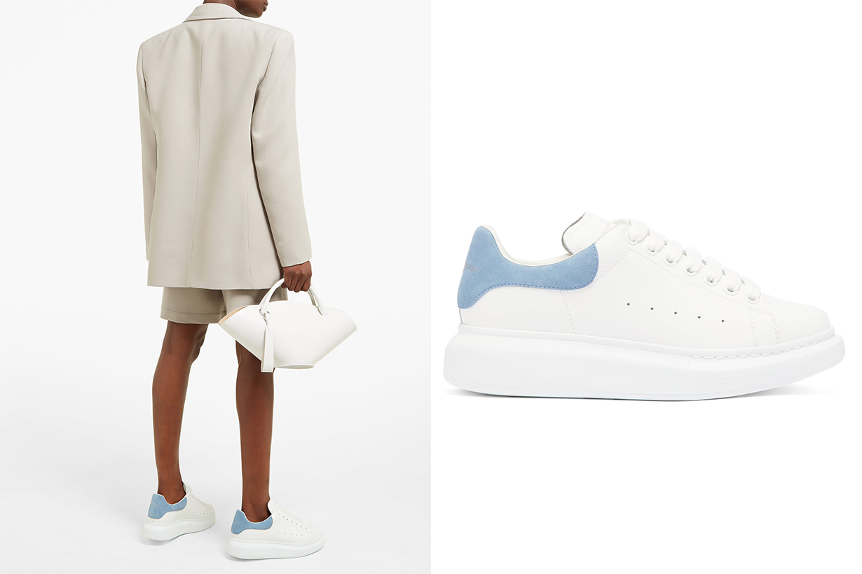 Raised-sole Low-top Leather Trainers