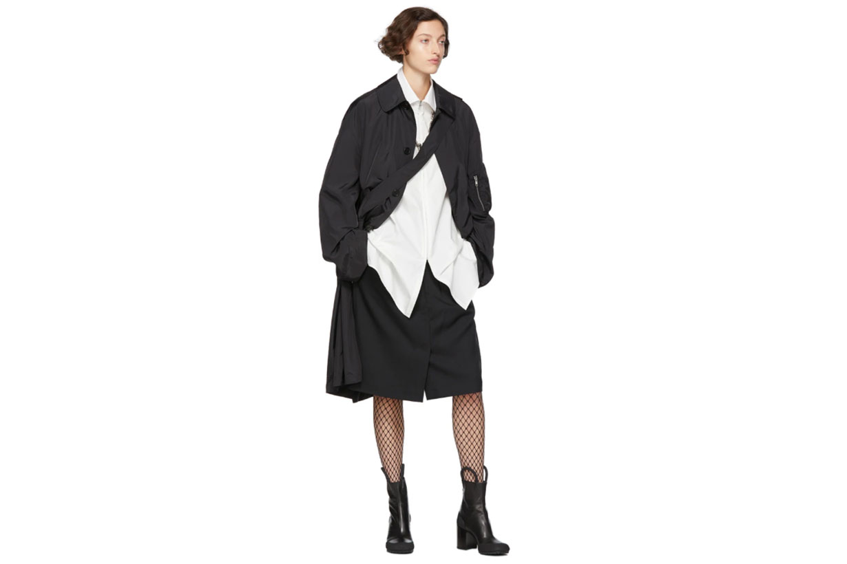 Random Identities Black Satin Overcoat