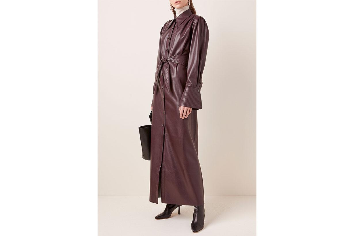 Nanushka Rosana Belted Faux Leather Maxi Dress