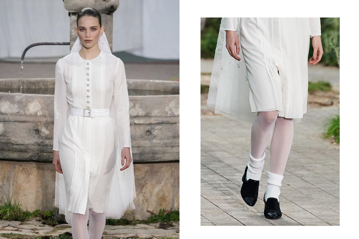 chanel bride minimalist modern wedding dress haute couture show spring summer 2020