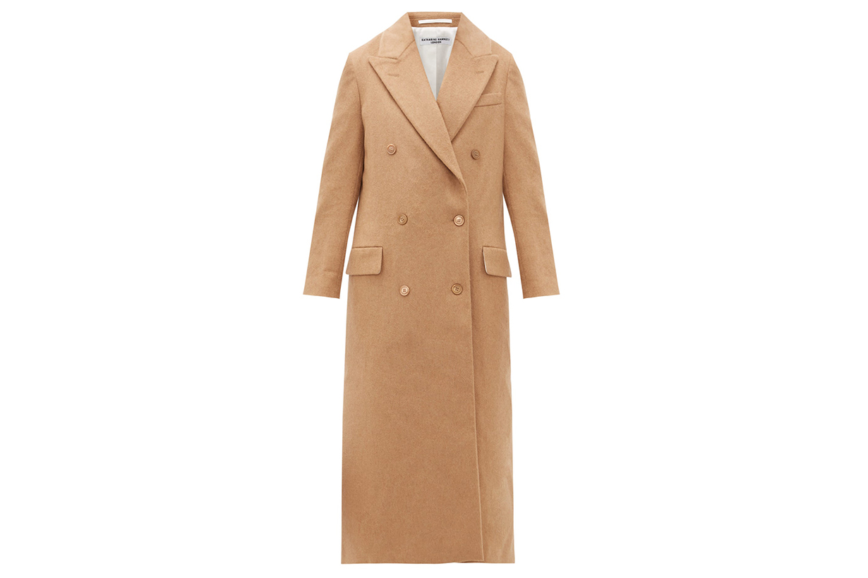 Simona Double-breasted Camel Coat