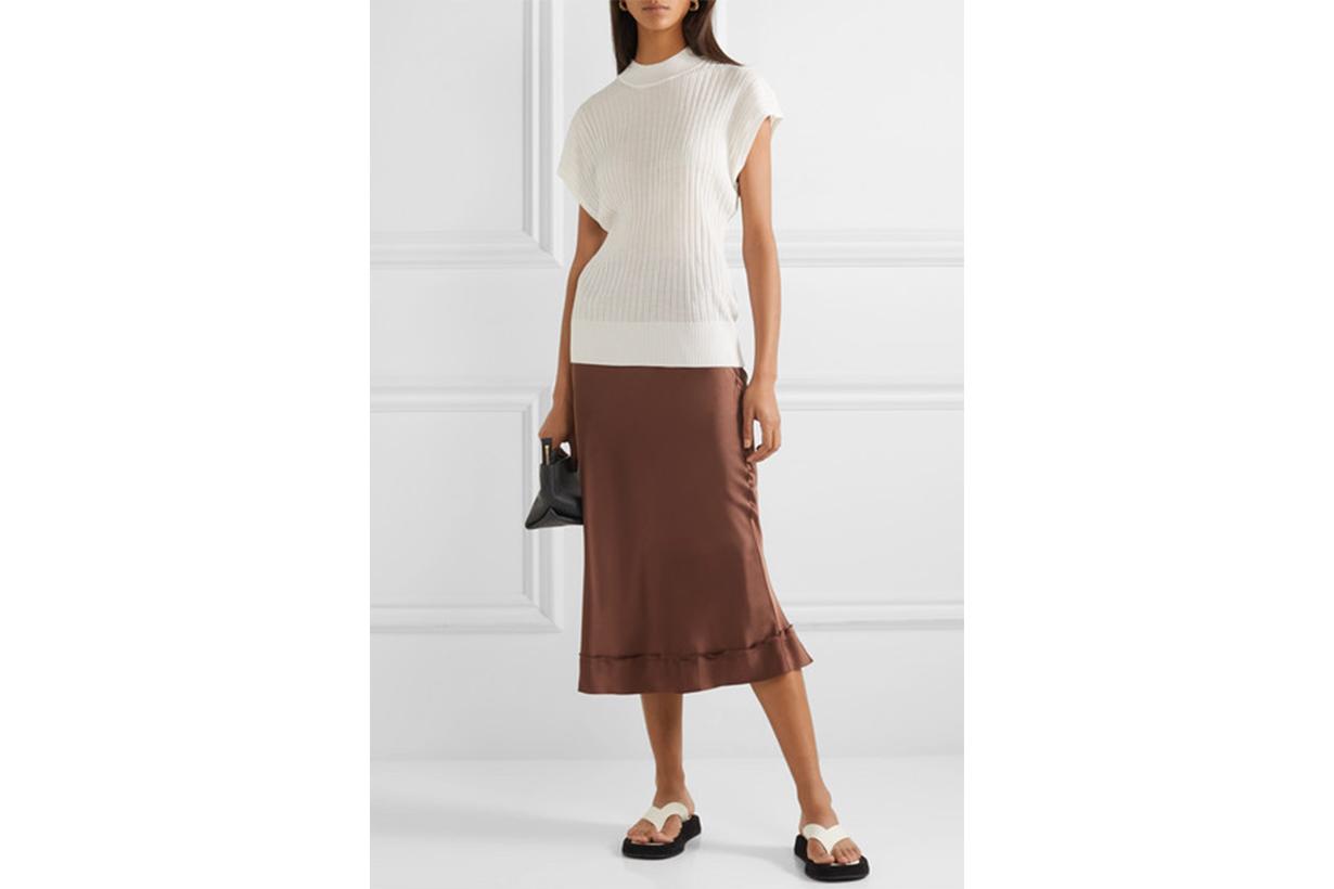 Stella Picot-trimmed Silk-satin Midi Skirt