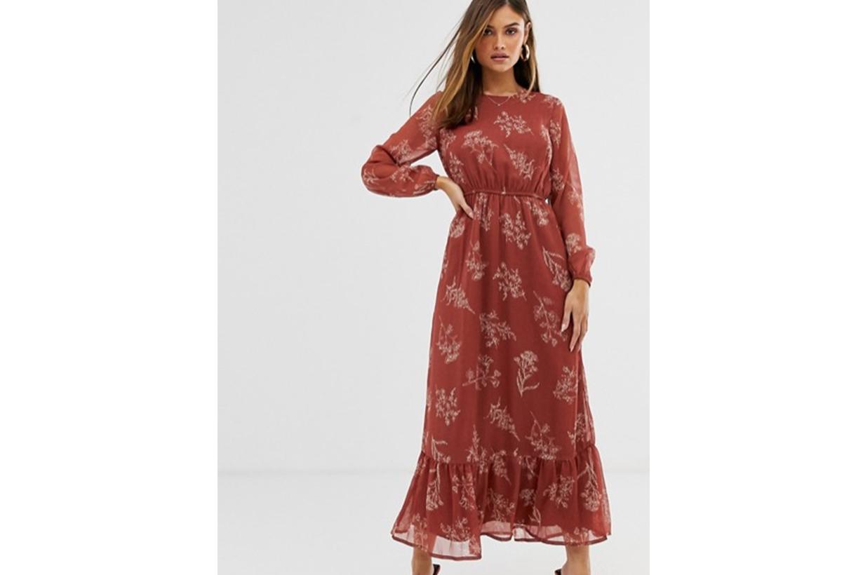 Y.A.S Floral Prairie Midi Dress with Ruffle Hem